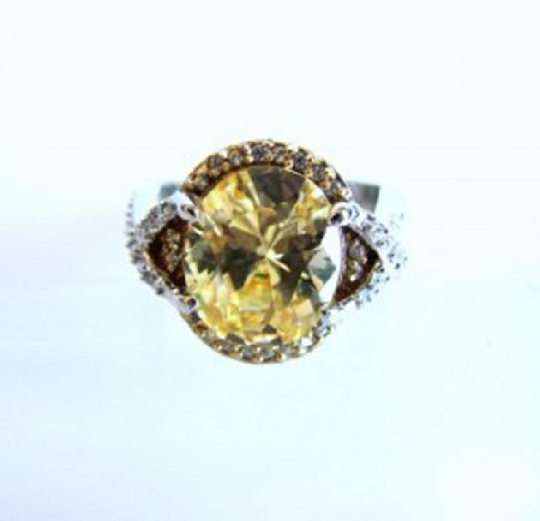 Creation Diamond Ring 5.98Ct 18k W-Y/g Overlay