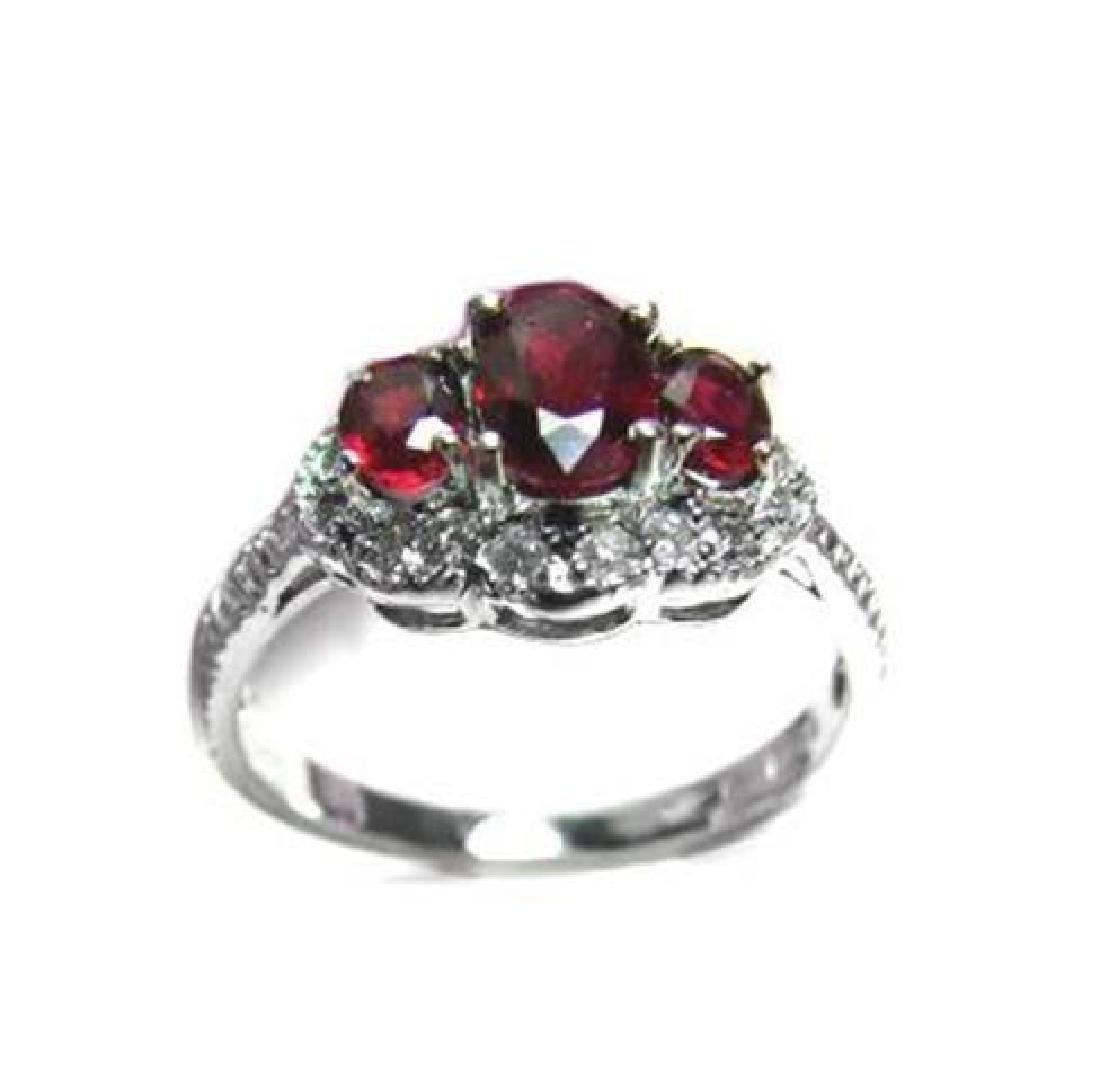 Ruby ring 1.10Ct & Diamond .20Ct 14K W/g - 2
