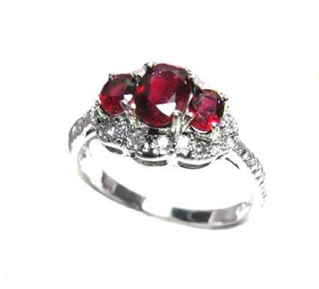 Ruby ring 1.10Ct & Diamond .20Ct 14K W/g - 3