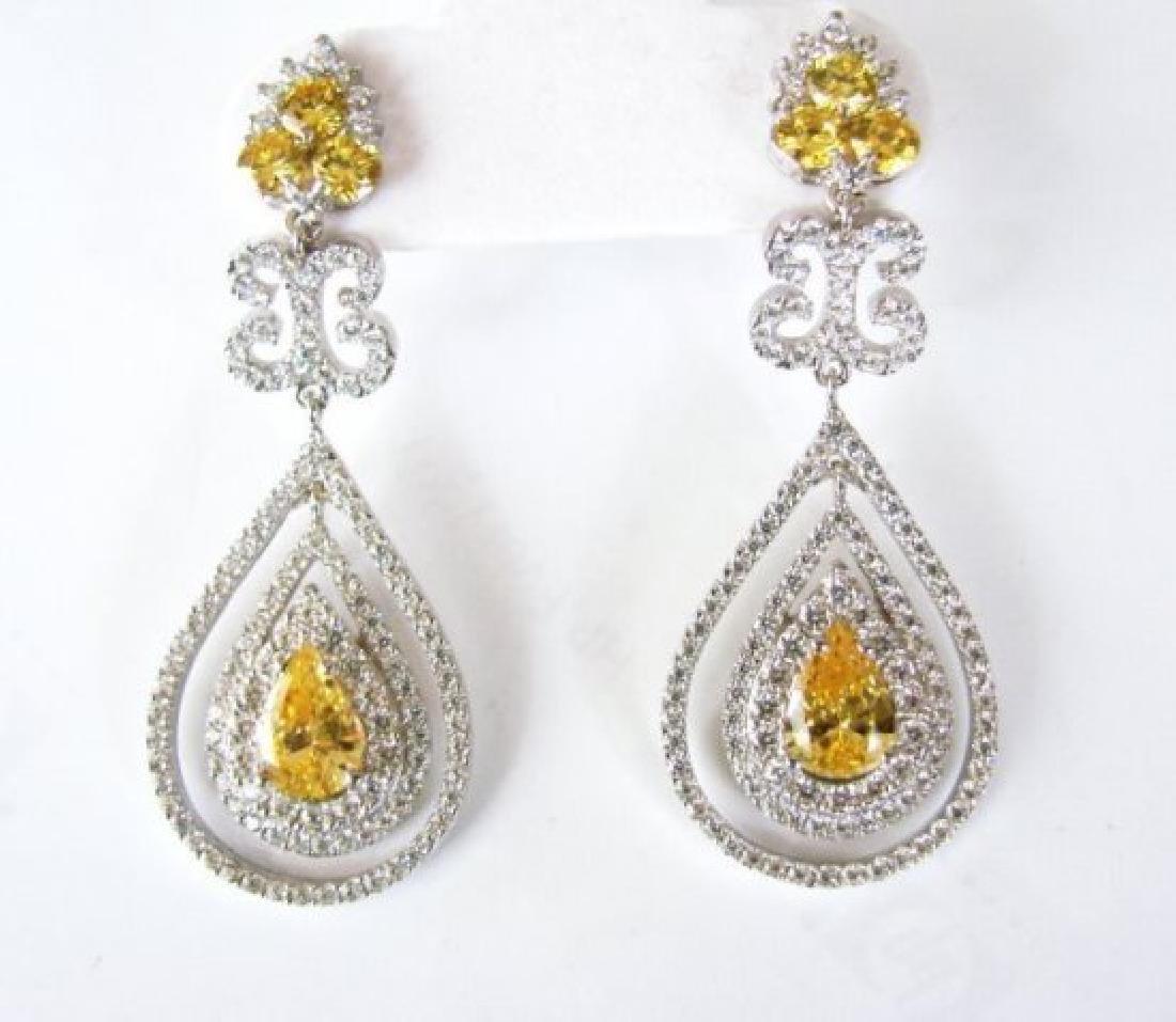 Creation Diamond & Fancy Yellow 21.72ct 14k W/G Overlay