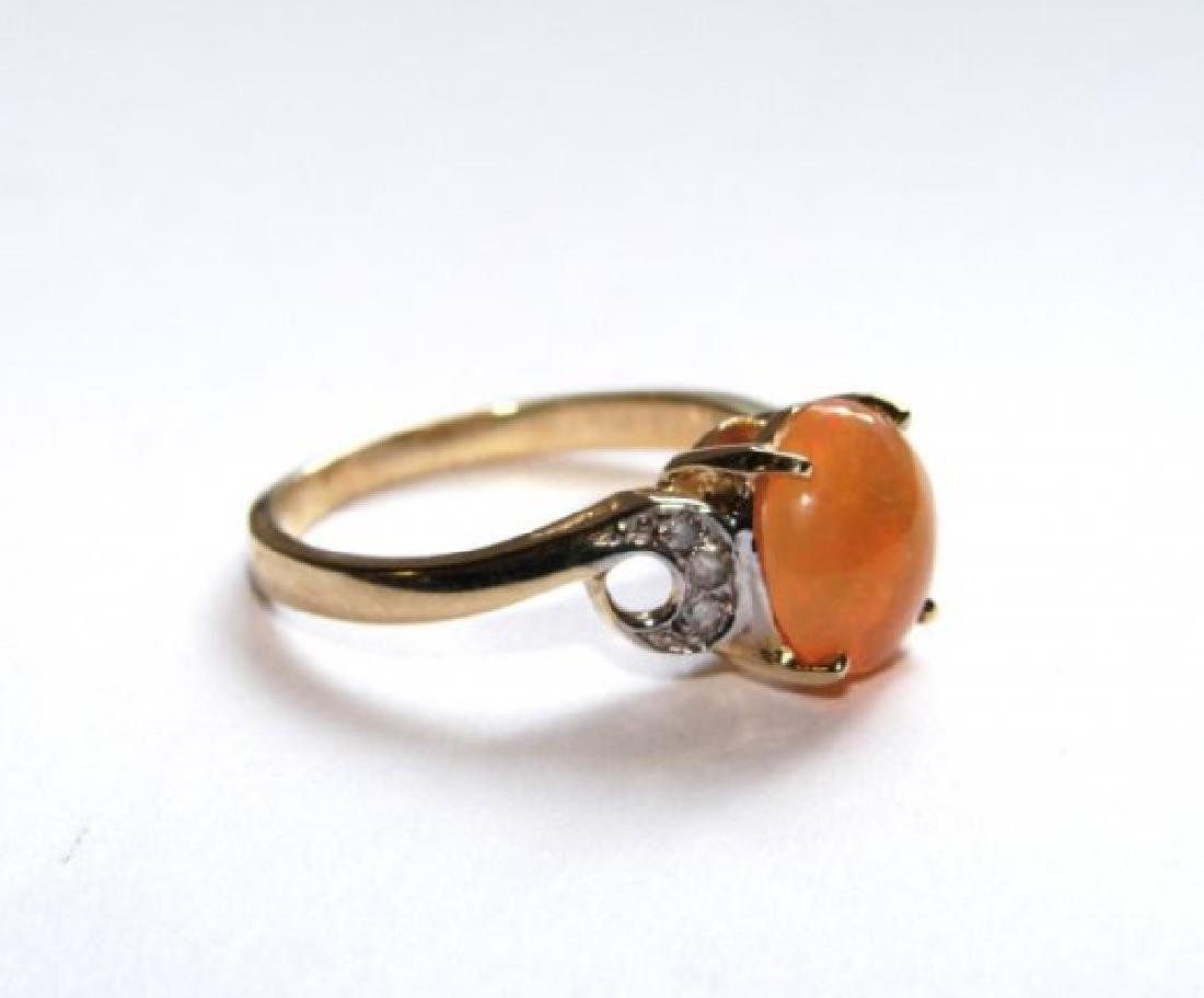 Mexican Opal Ring: 1.57 Ct Dia: .10 CT 14k Y/G - 3