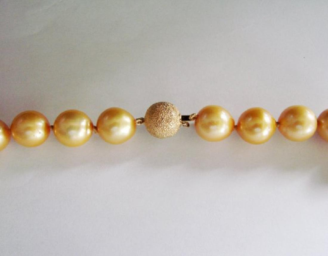 """Golden South Sea Pearl Graduation Necklace 17.5""""inch - 3"""