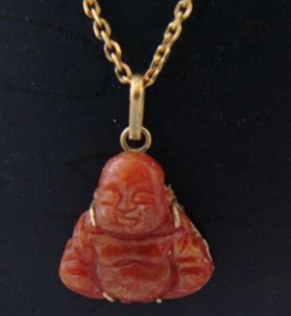 Natural Chinese Red Jade Buddha pendant 14k Y/g