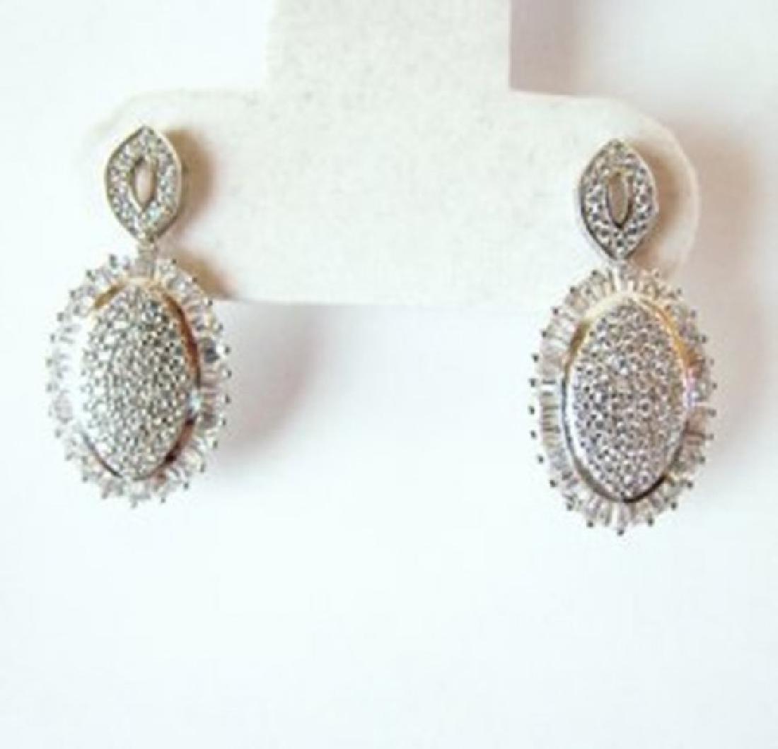 Creation Diamond Oval Earrings 4.28Ct 18k W/g Overlay - 2