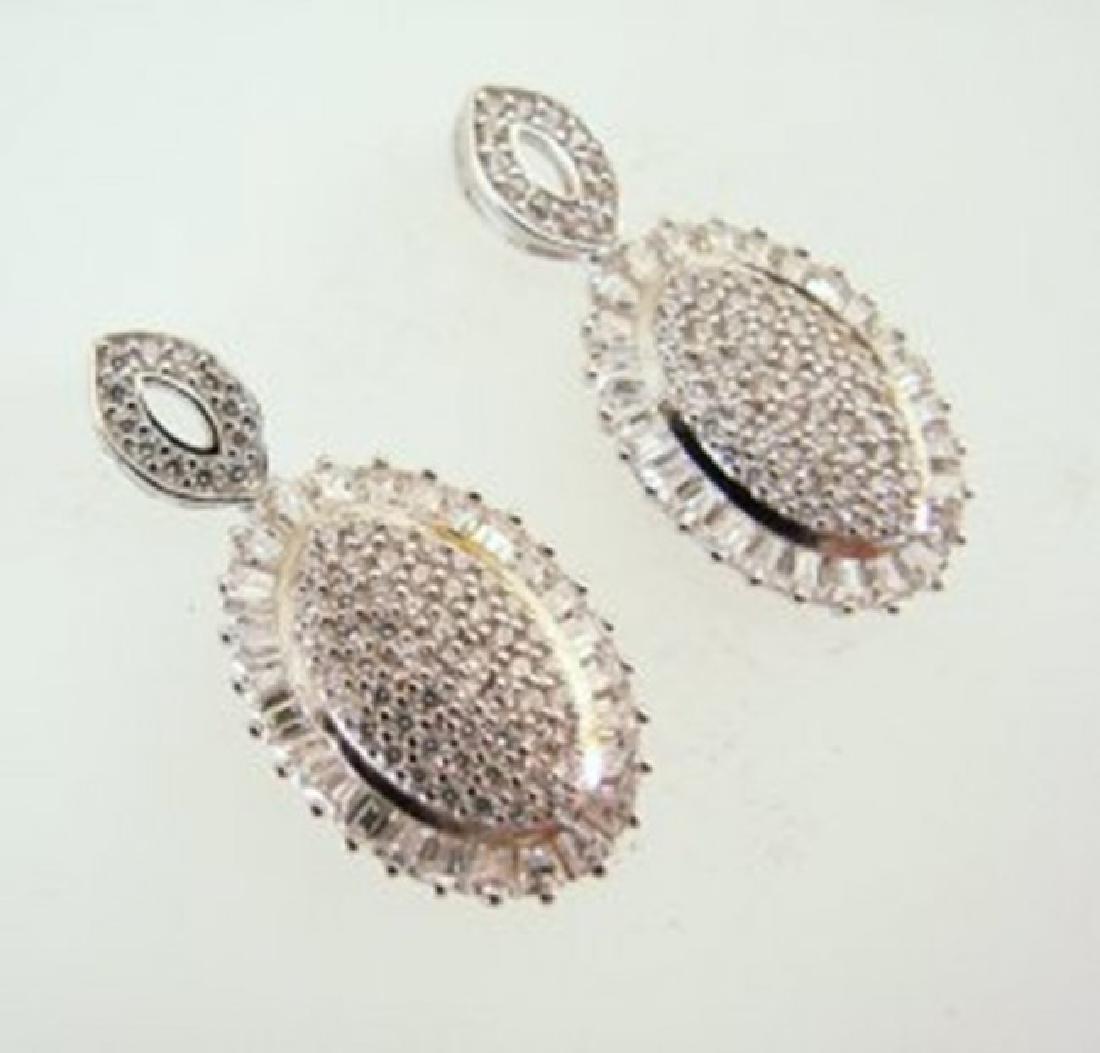 Creation Diamond Oval Earrings 4.28Ct 18k W/g Overlay - 3