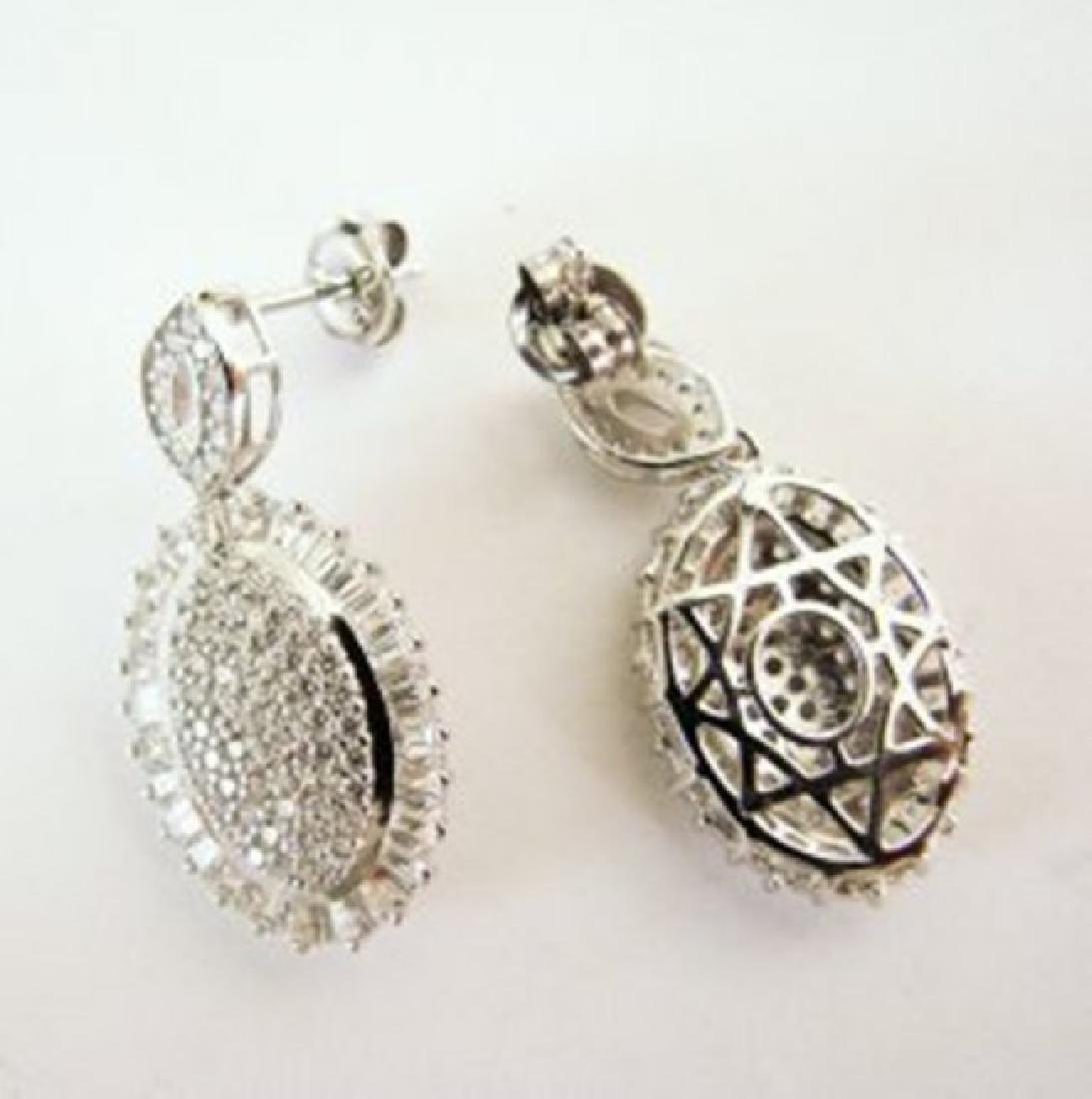 Creation Diamond Oval Earrings 4.28Ct 18k W/g Overlay - 4