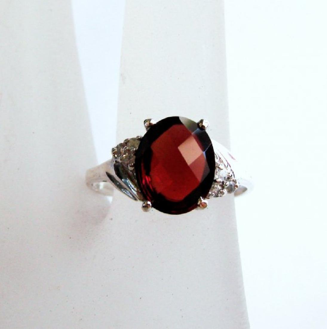 Anniversary Ring Natural Diamond Garnet 3.07Ct 14k W/g