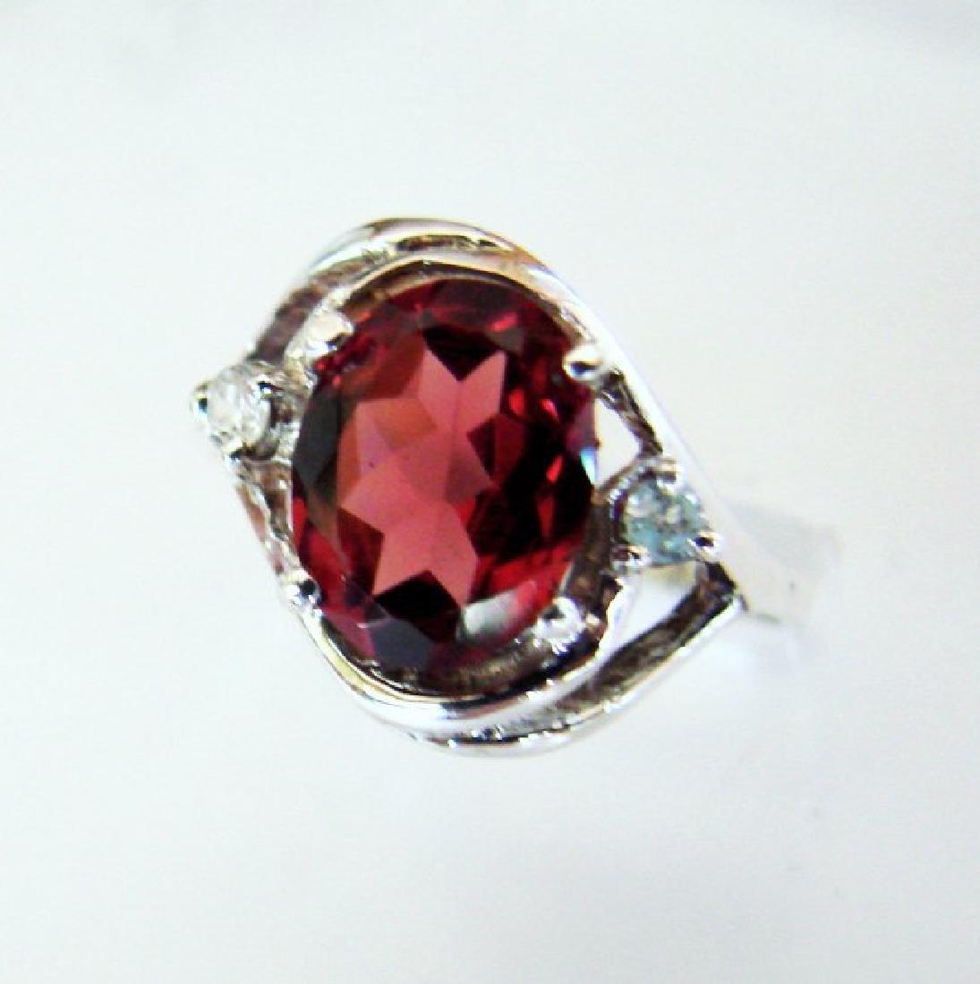 Anniversary Ring Natural Diamond Garnet 1.80Ct 14k W/g