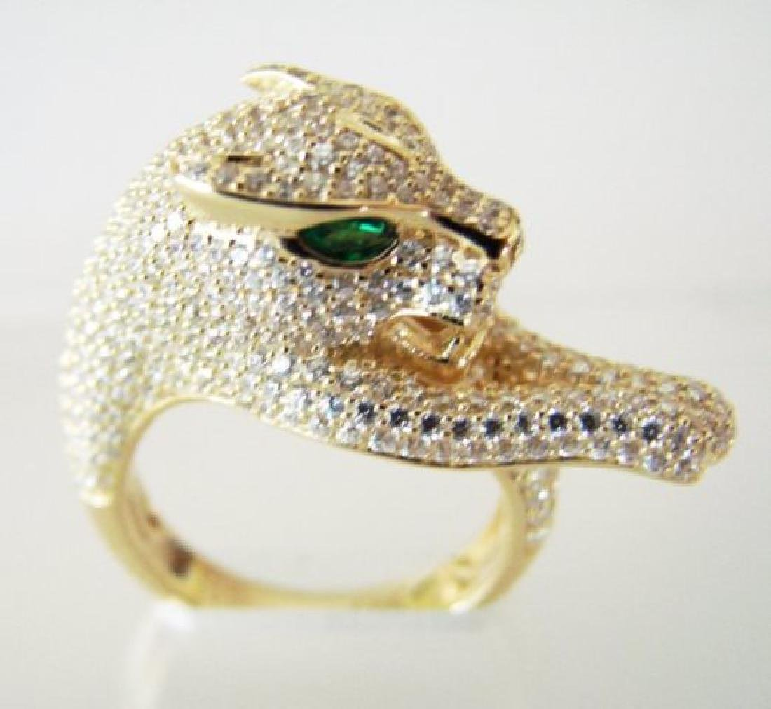Creation Diamond Juguar Ring 4.67Ct18k Y/g Overaly