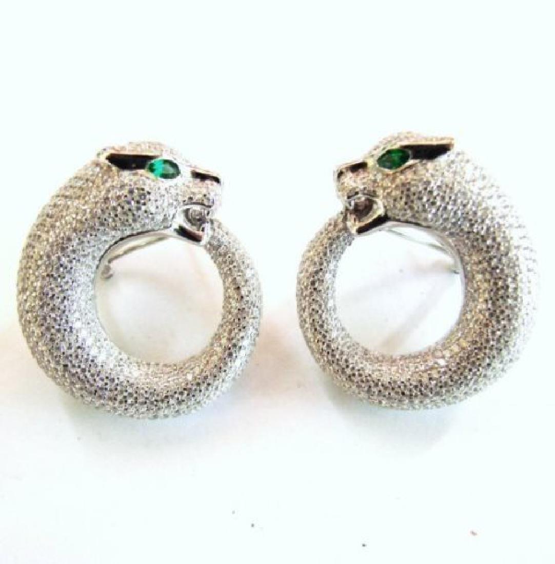 Creation Diamond Juguar Earrings 7.78Ct 18k W/g Overaly