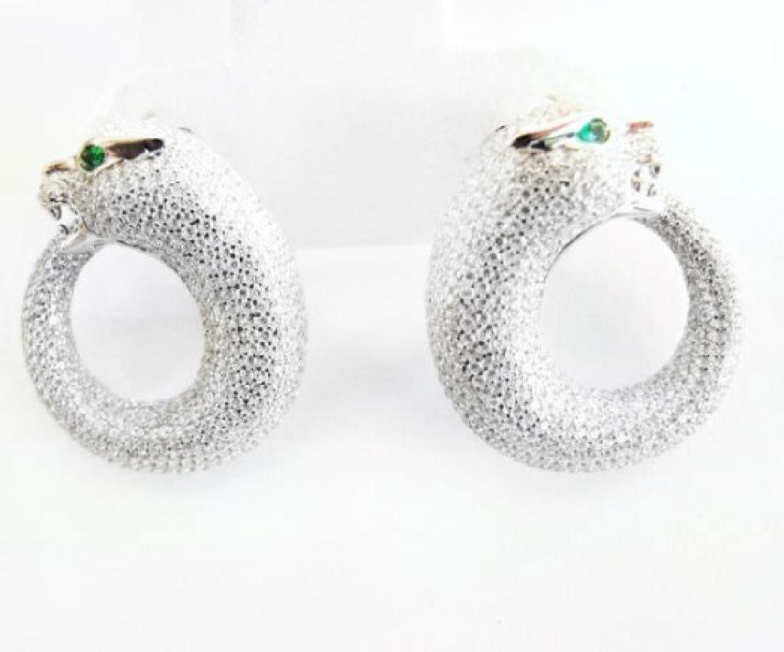Creation Diamond Juguar Earrings 7.78Ct 18k W/g Overaly - 3