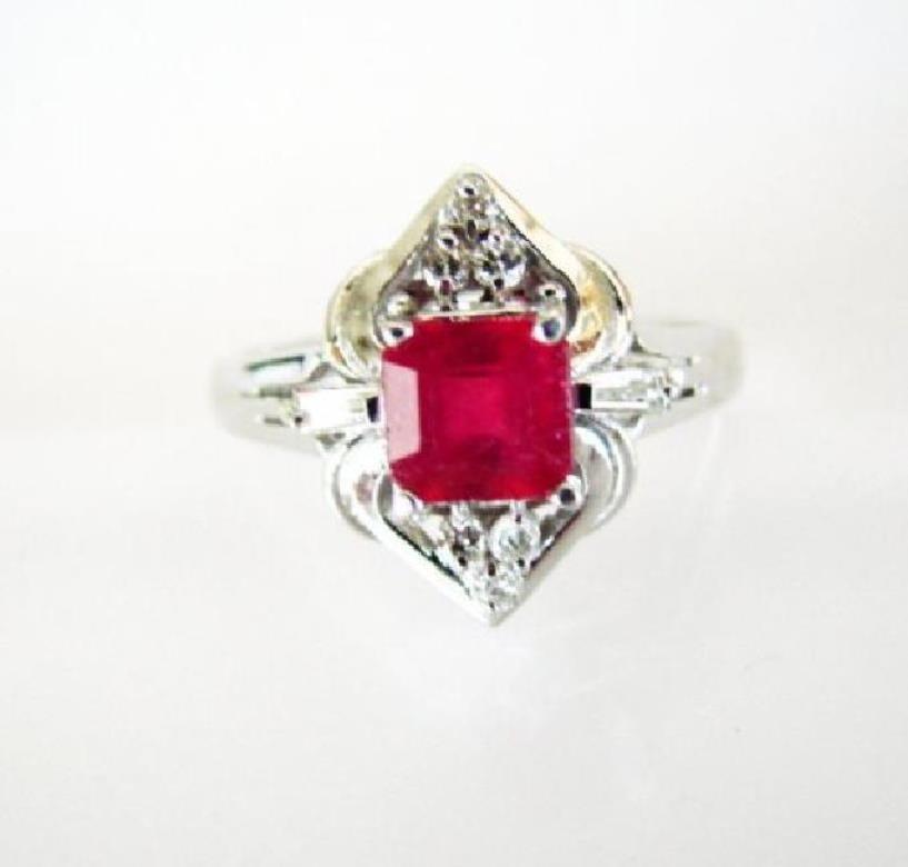 Ruby: 1.05CT & Diamond: .23CT Ring Ct 14k W/g
