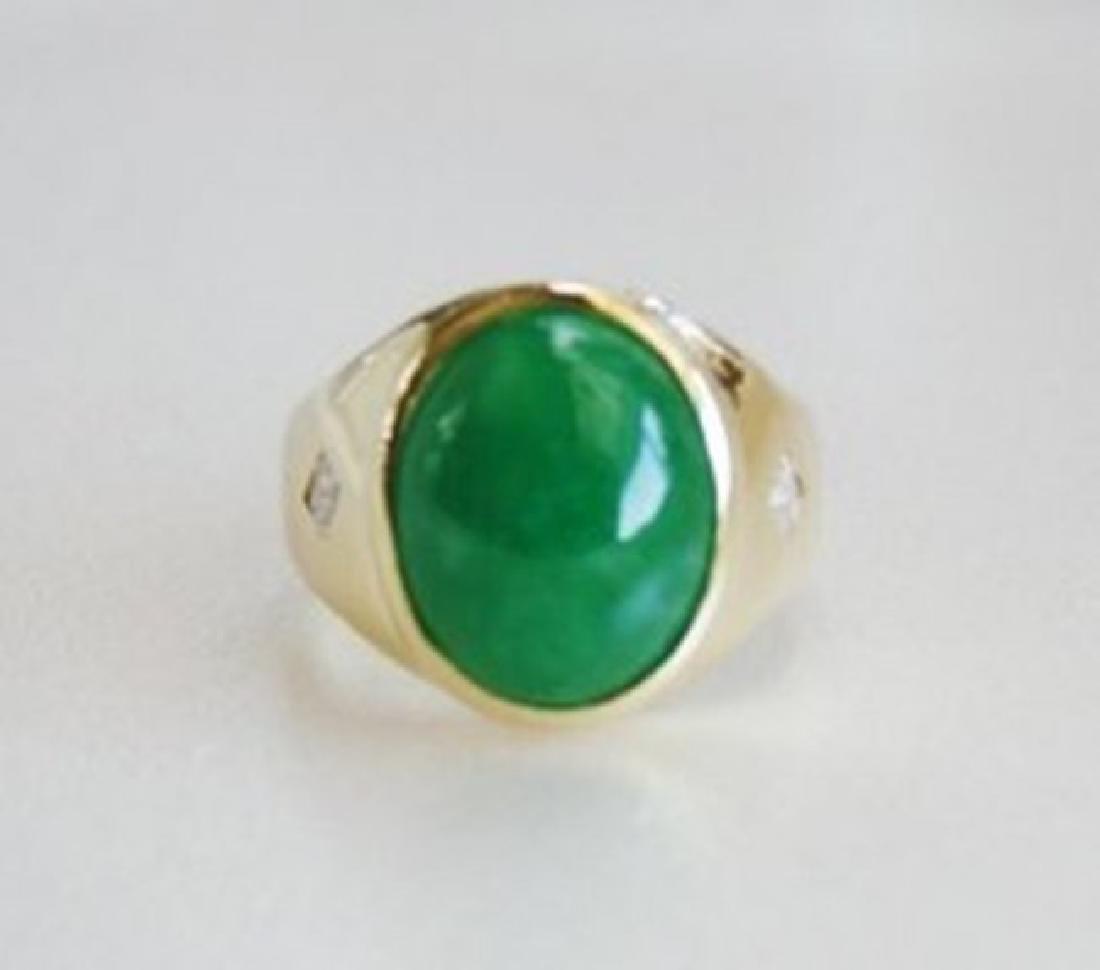 Man's Jade Ring Diamond: .20Ct/Jade 9.26Ct 14k Y/g