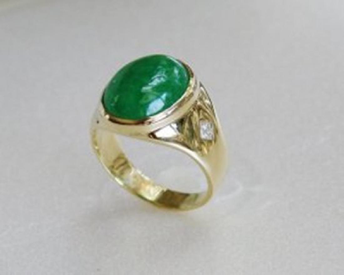 Man's Jade Ring Diamond: .20Ct/Jade 9.26Ct 14k Y/g - 2