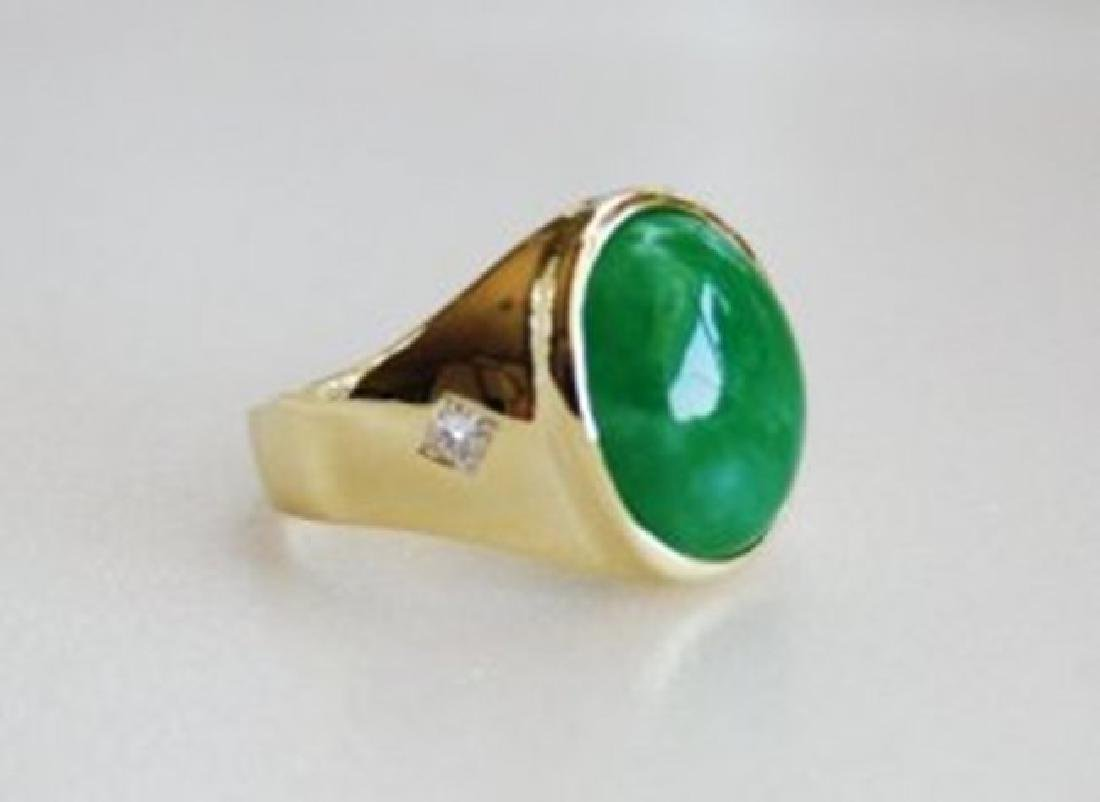 Man's Jade Ring Diamond: .20Ct/Jade 9.26Ct 14k Y/g - 3