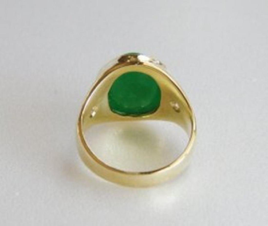 Man's Jade Ring Diamond: .20Ct/Jade 9.26Ct 14k Y/g - 4