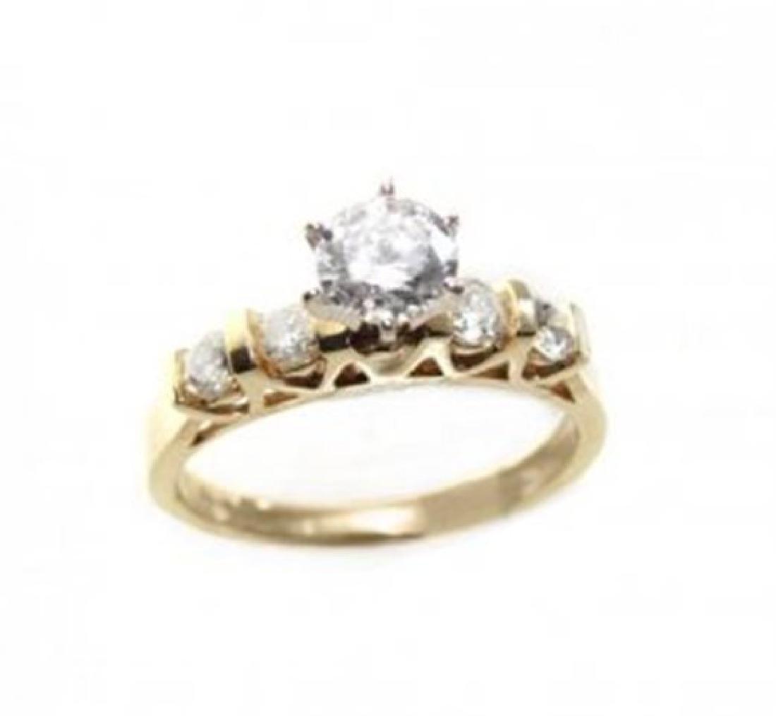 Anniversary Diamond Ring 1.15 CT 14k Yellow Gold