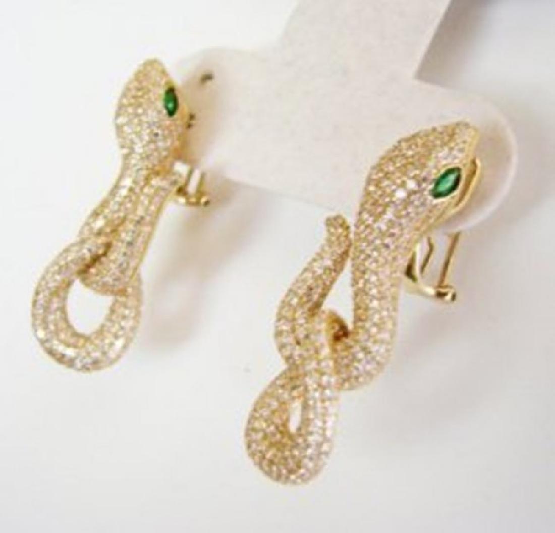 Creation Diamond Snake Earrings 6.57Ct 18k Y/g Overlay - 2
