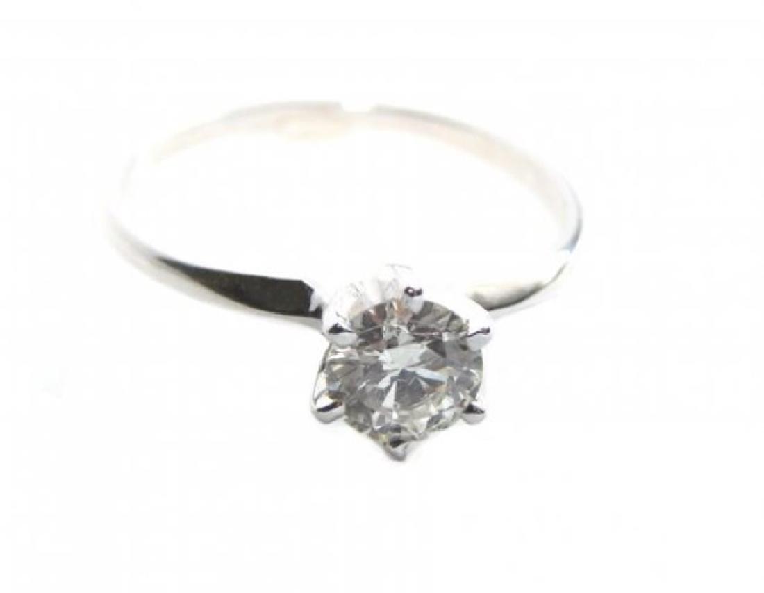 Solitaire Diamond Ring: .60Ct 14k W/g