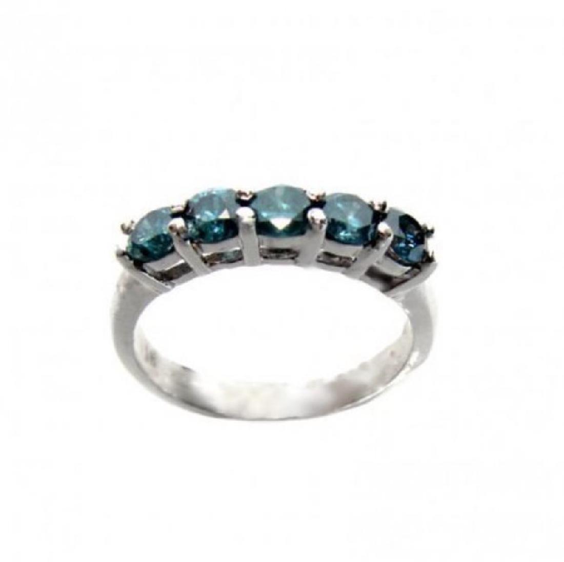 Blue Diamond Bend Ring 1.20 Carat 14k White Gold