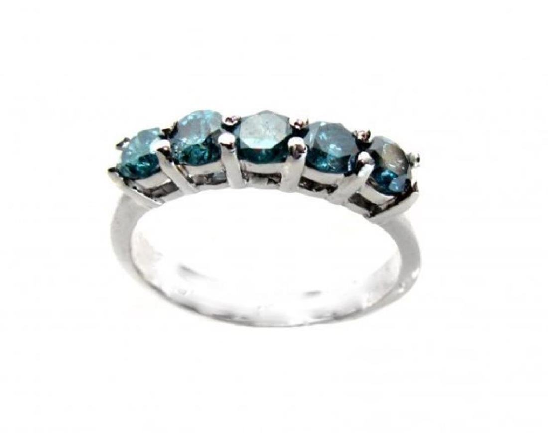 Blue Diamond Bend Ring 1.20 Carat 14k White Gold - 2