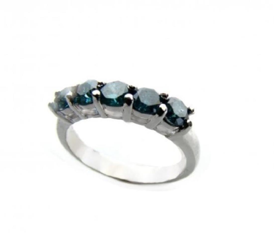 Blue Diamond Bend Ring 1.20 Carat 14k White Gold - 3