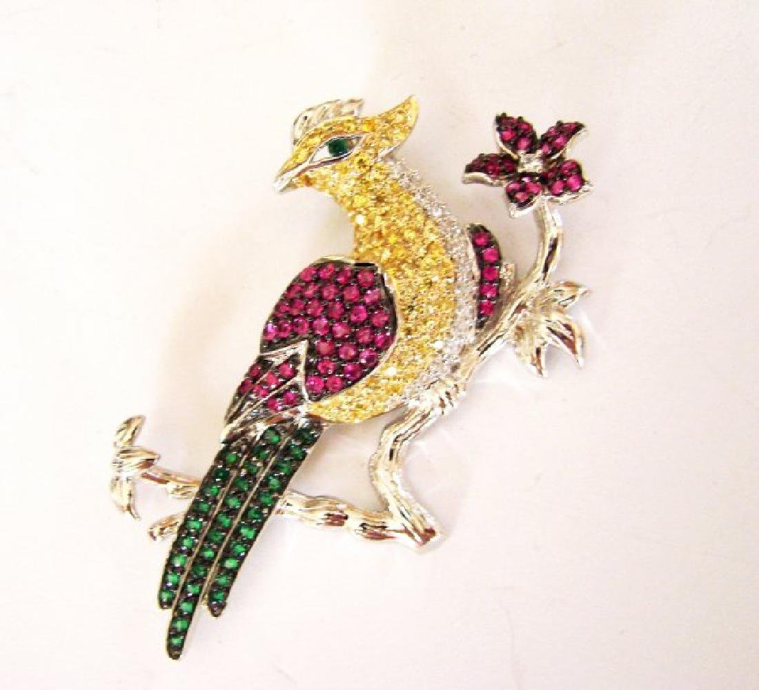 Creation, Dia/Multi-Color Brooch 42.81Ct 18k W/g Over - 4