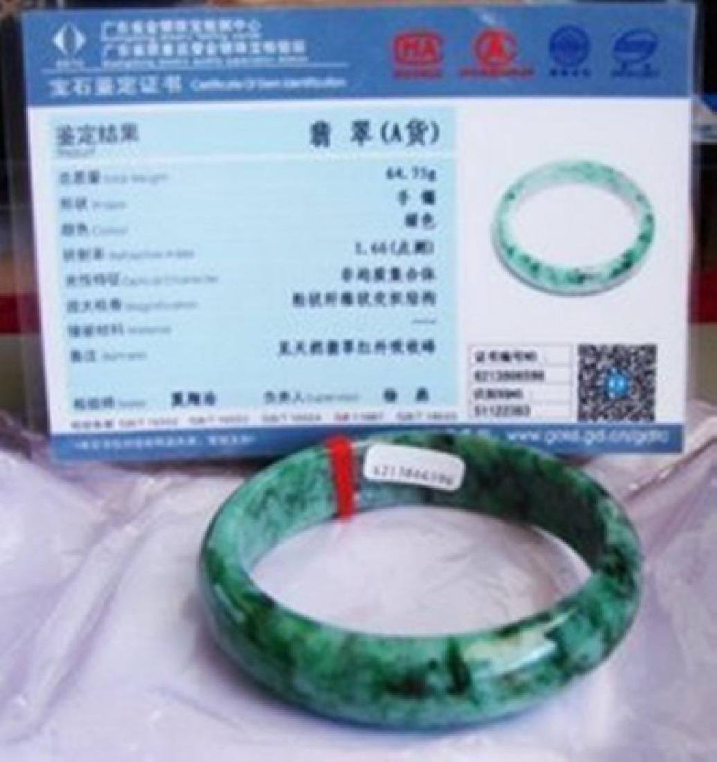 Natural Jadeite Jade Certif Bangle Grade: A Size 7.5 - 3