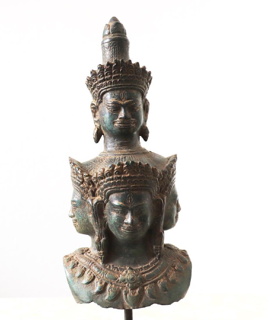 Khmer Angkor,Bronze Heyajra Brass King  Statue 12th