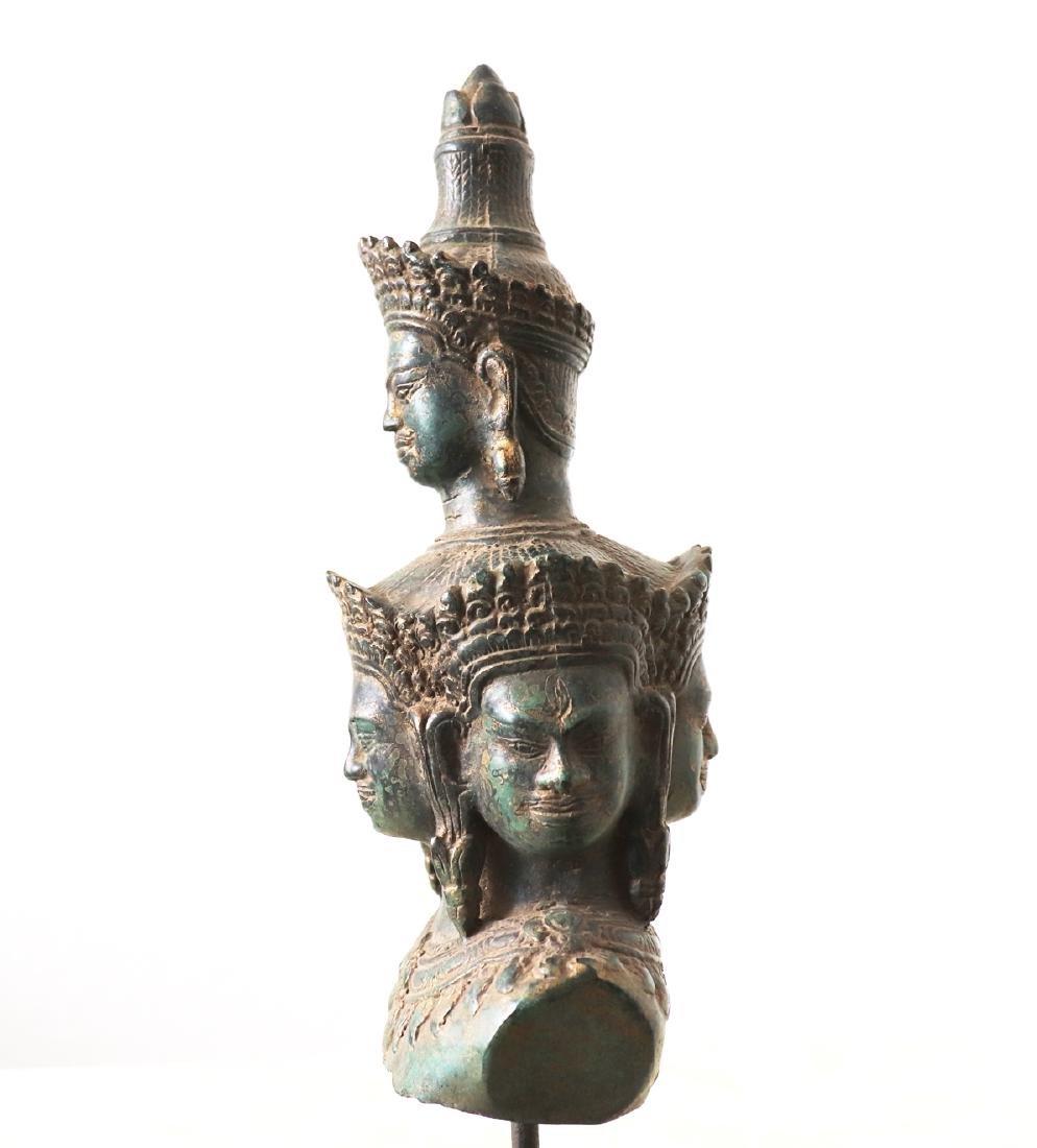 Khmer Angkor,Bronze Heyajra Brass King  Statue 12th - 3