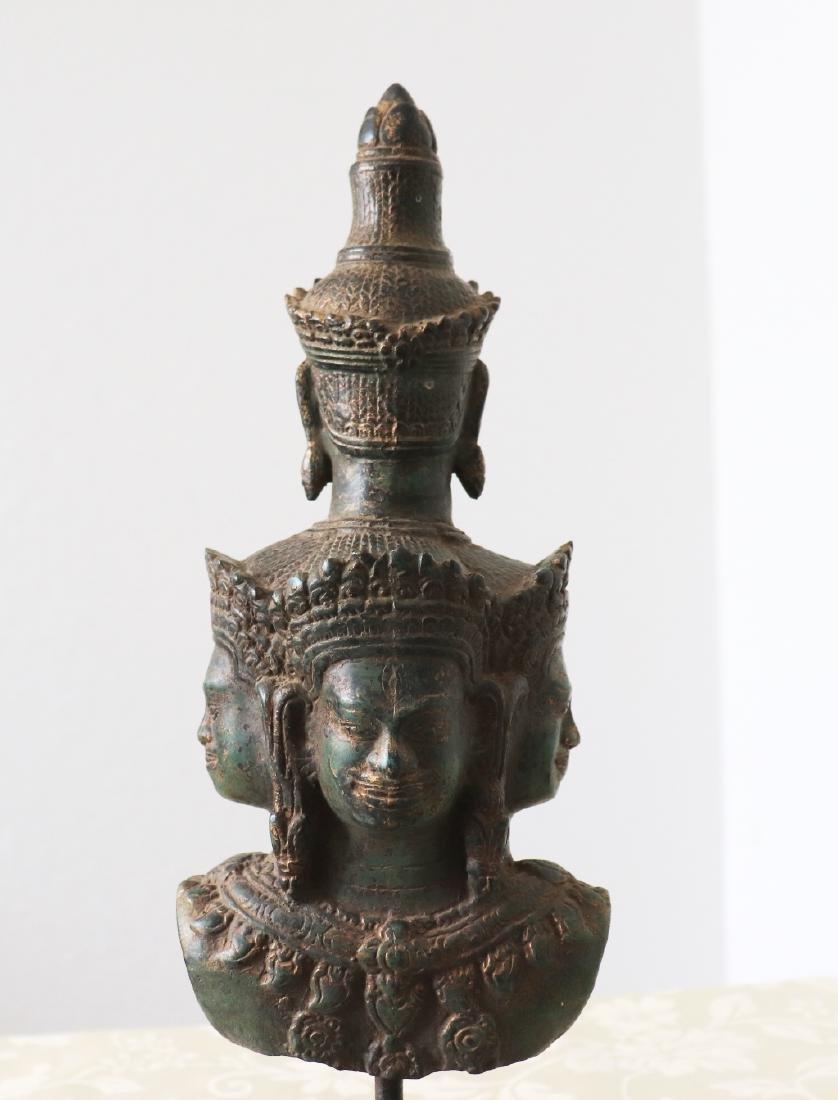 Khmer Angkor,Bronze Heyajra Brass King  Statue 12th - 7