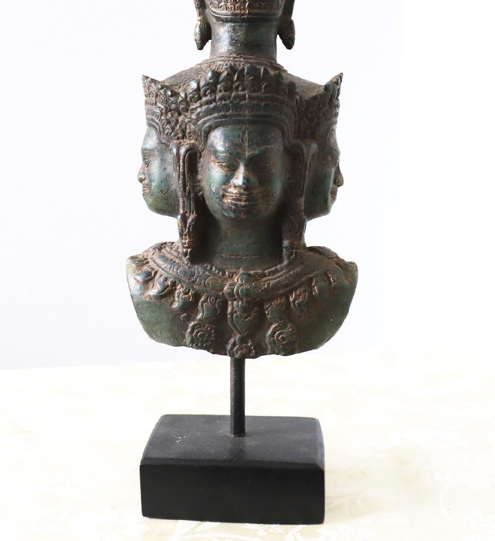 Khmer Angkor,Bronze Heyajra Brass King  Statue 12th - 9