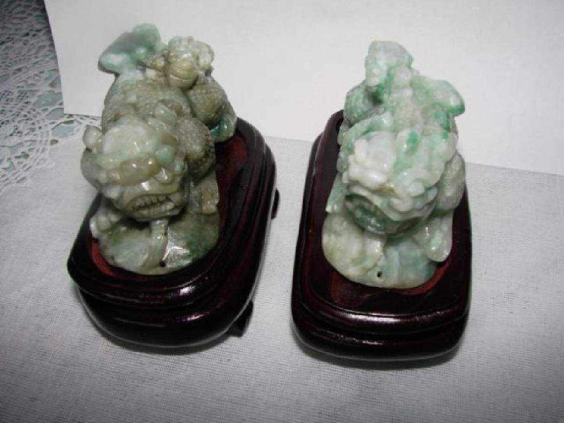 2 Antique Handmade Caved Jade Chinese Fool Dog