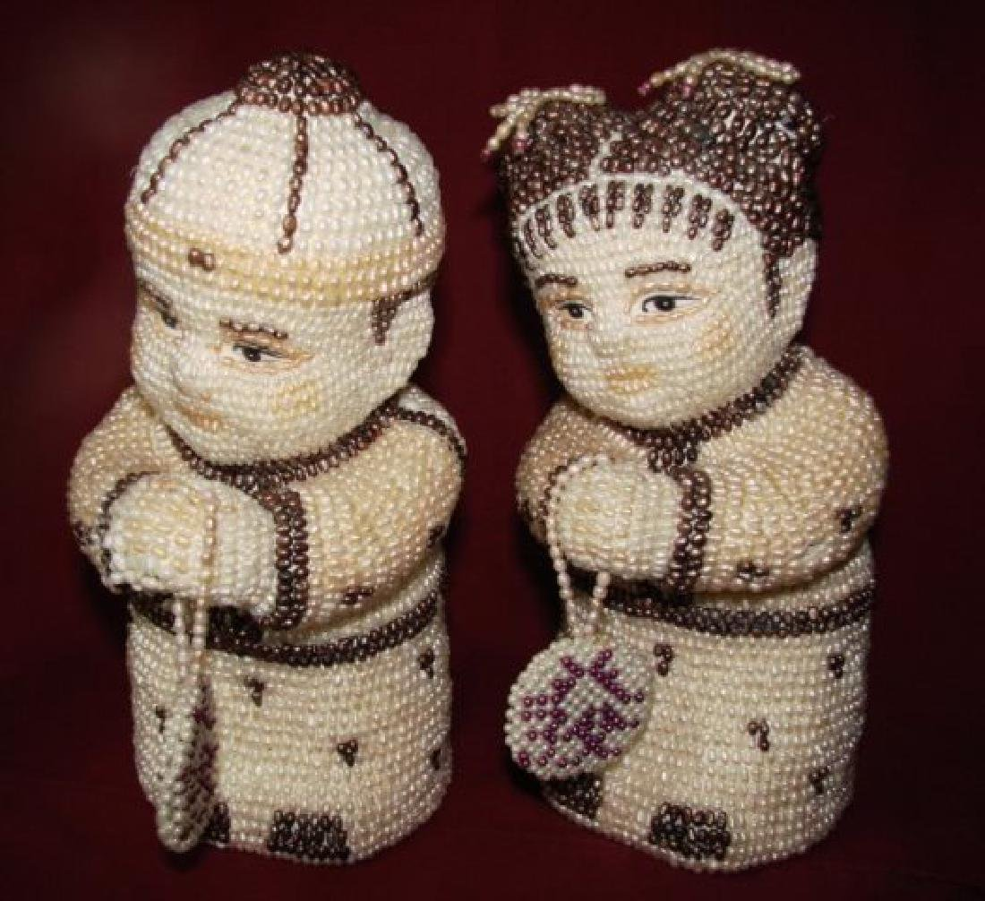 Antique a Couple Figures Handmade Freshwater Pear - 2