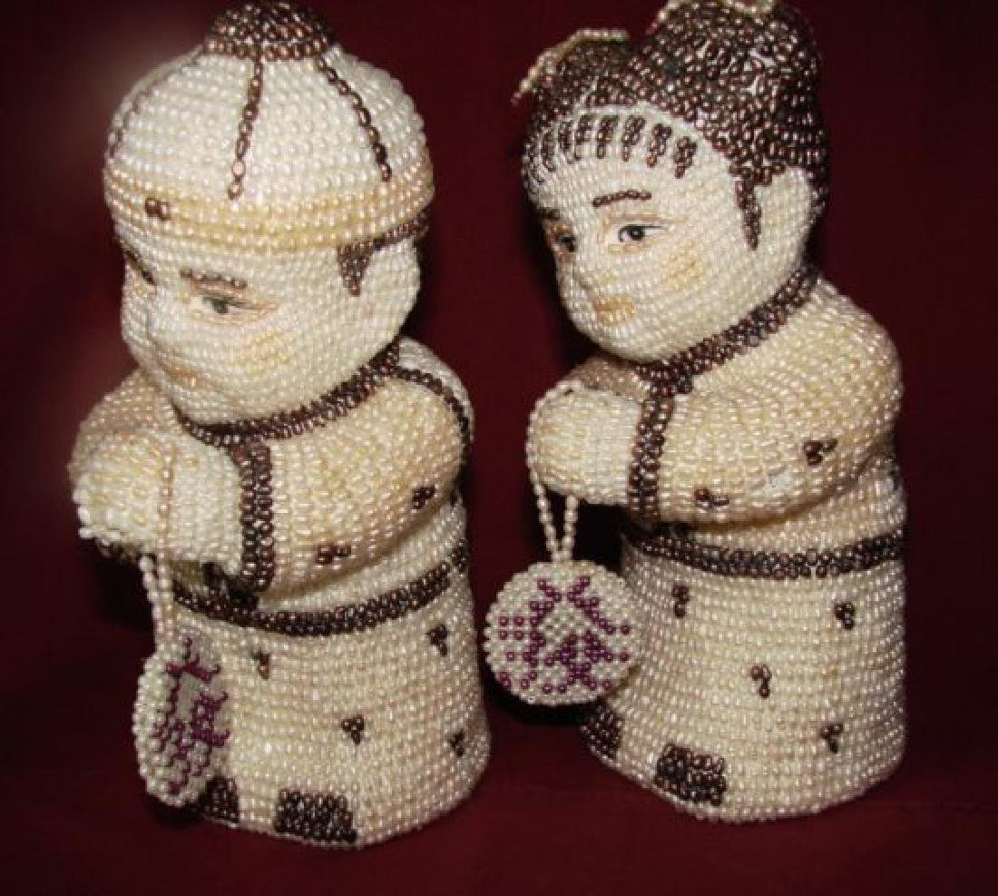 Antique a Couple Figures Handmade Freshwater Pear - 3
