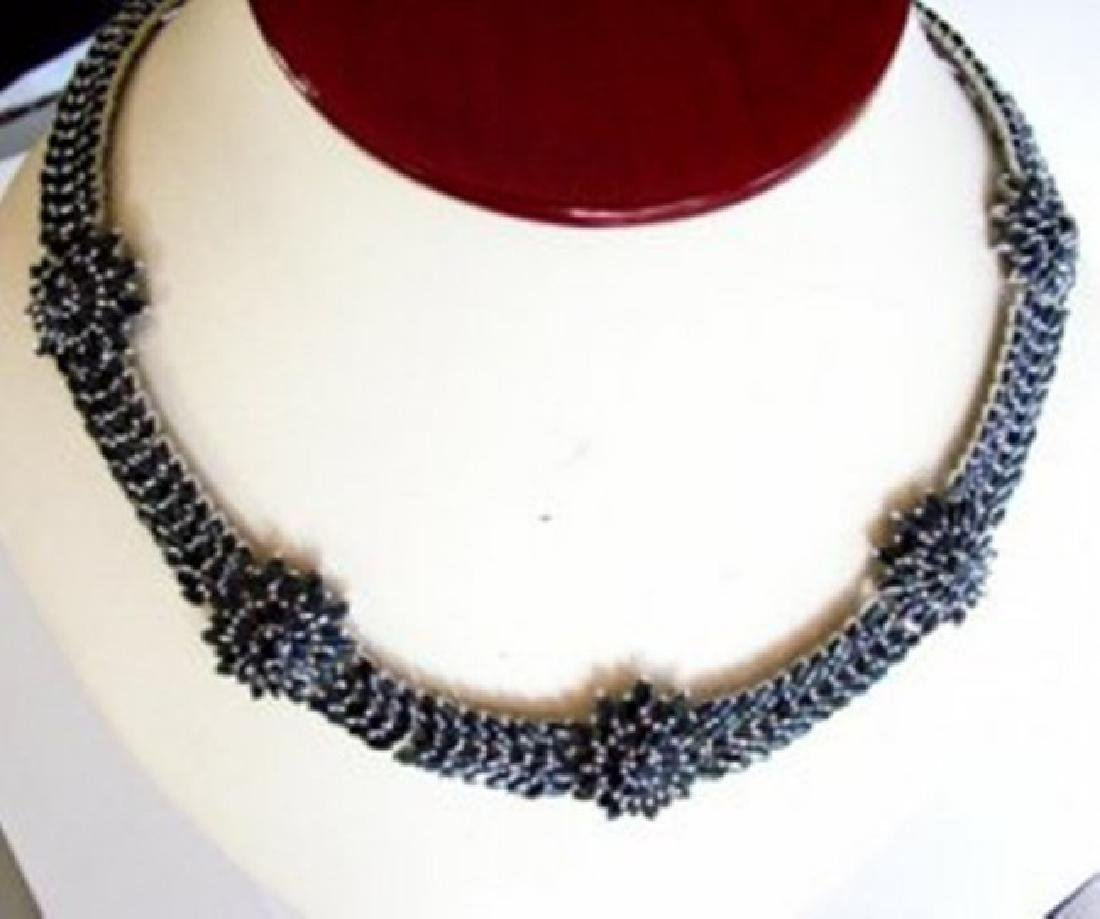 Natural Sapphire Necklace 69.23Ct 18k W/g Overlay - 2