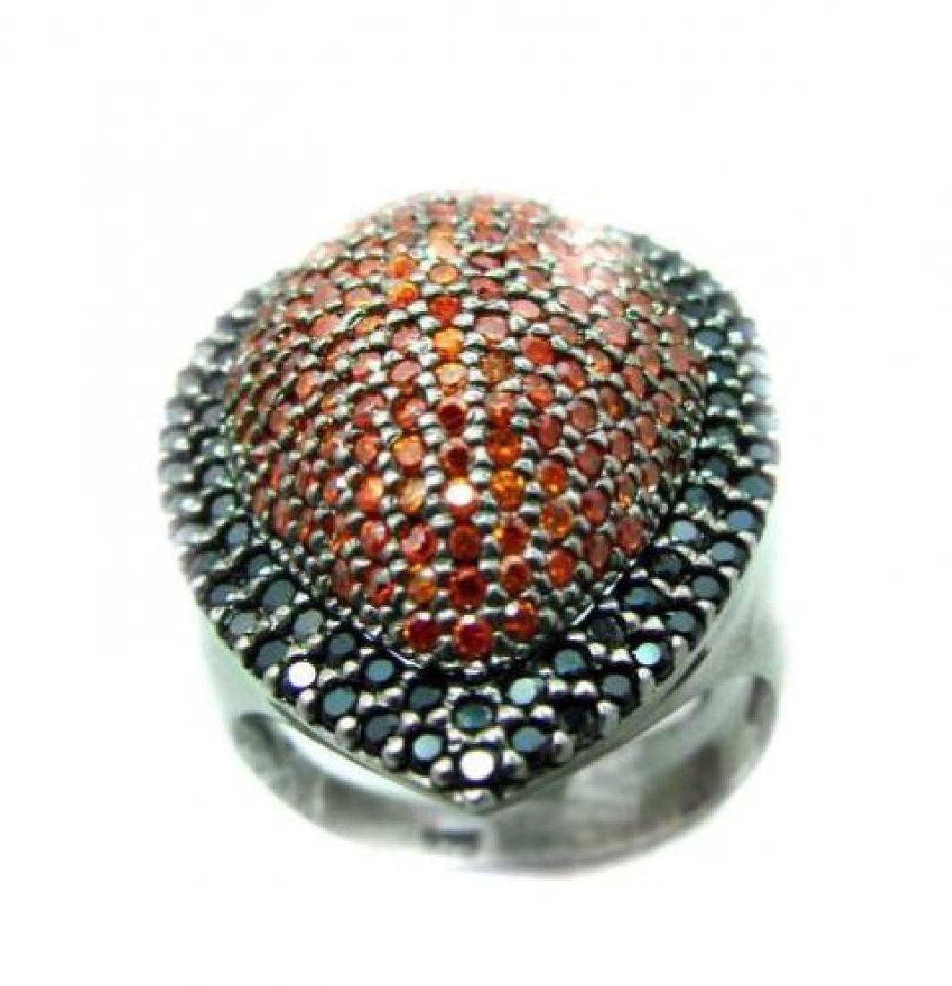 Ring Garnet/Orange Sapphire 3.10Ct 18k B/g Overlay