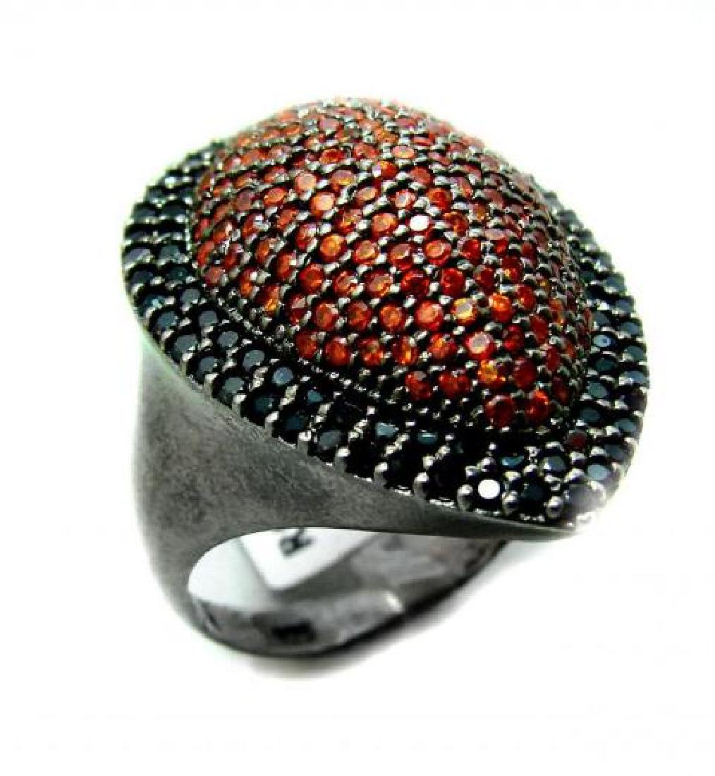 Ring Garnet/Orange Sapphire 3.10Ct 18k B/g Overlay - 2