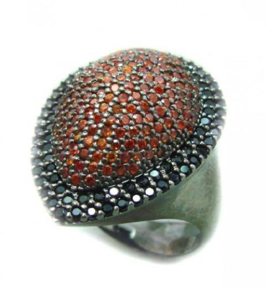 Ring Garnet/Orange Sapphire 3.10Ct 18k B/g Overlay - 3