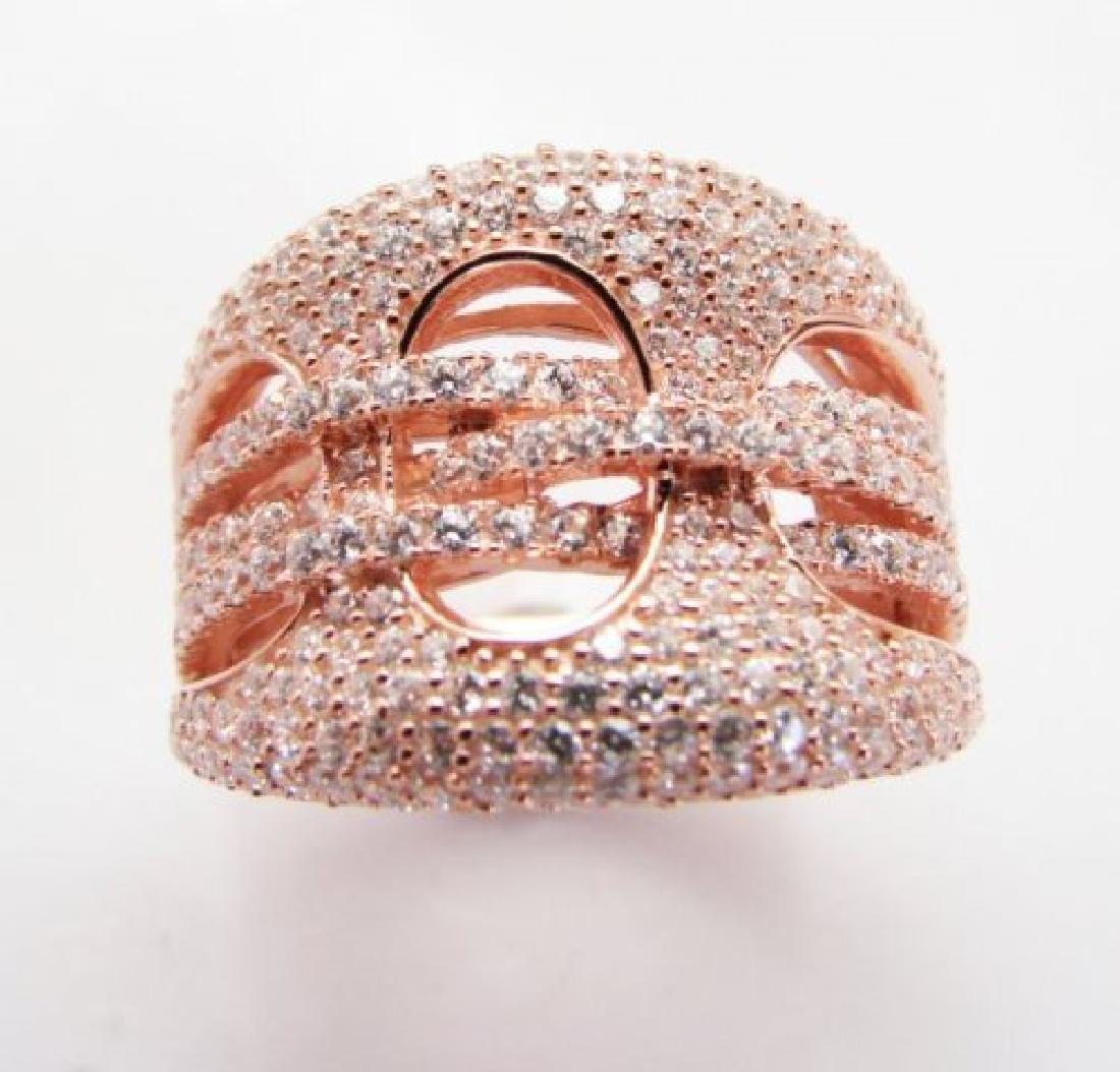 Creation Diamond Ring 2.50Ct 18k R/g Overlay