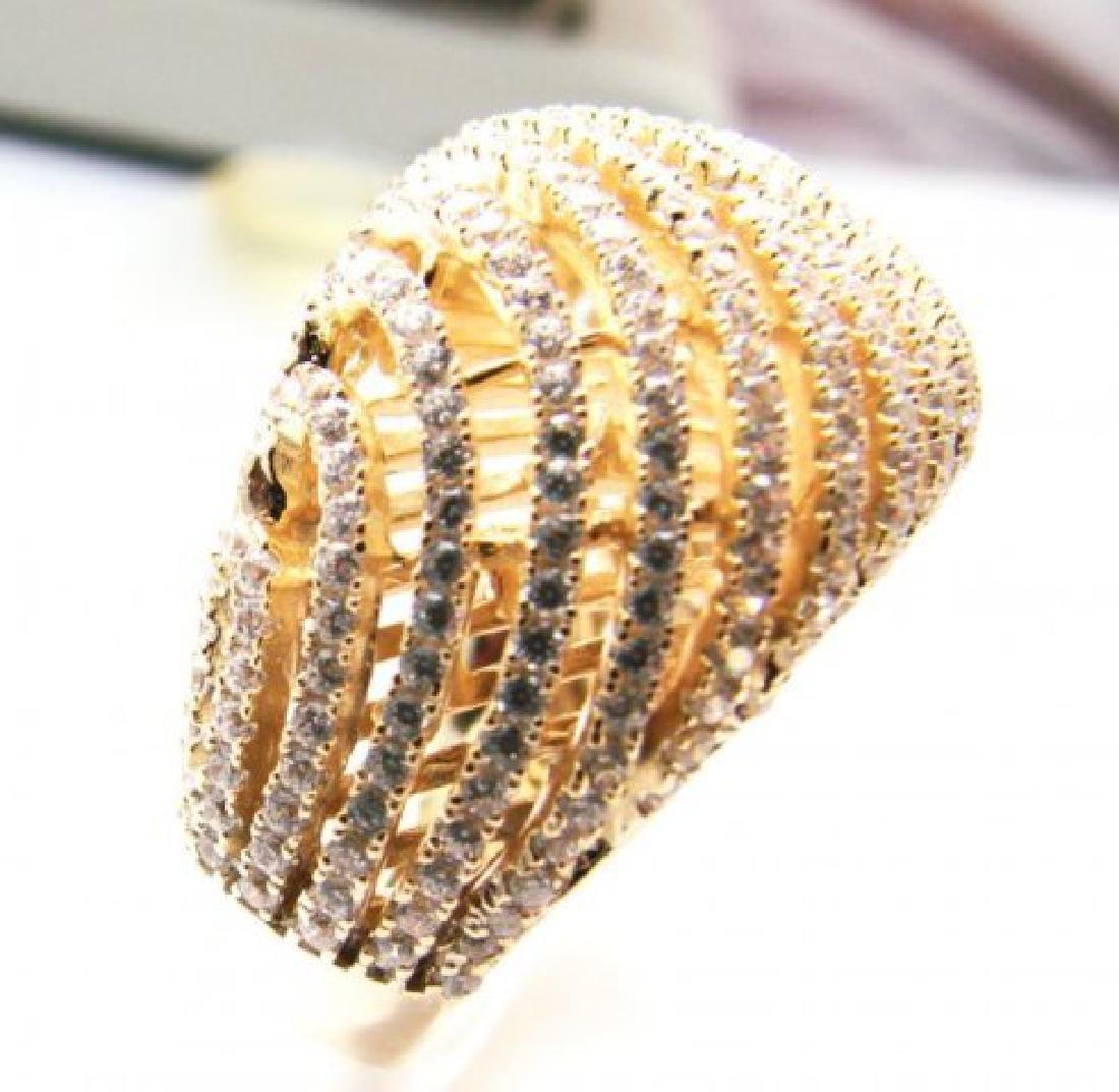 Creation Diamond Ring 2.50Ct 18k Y/G Overlay