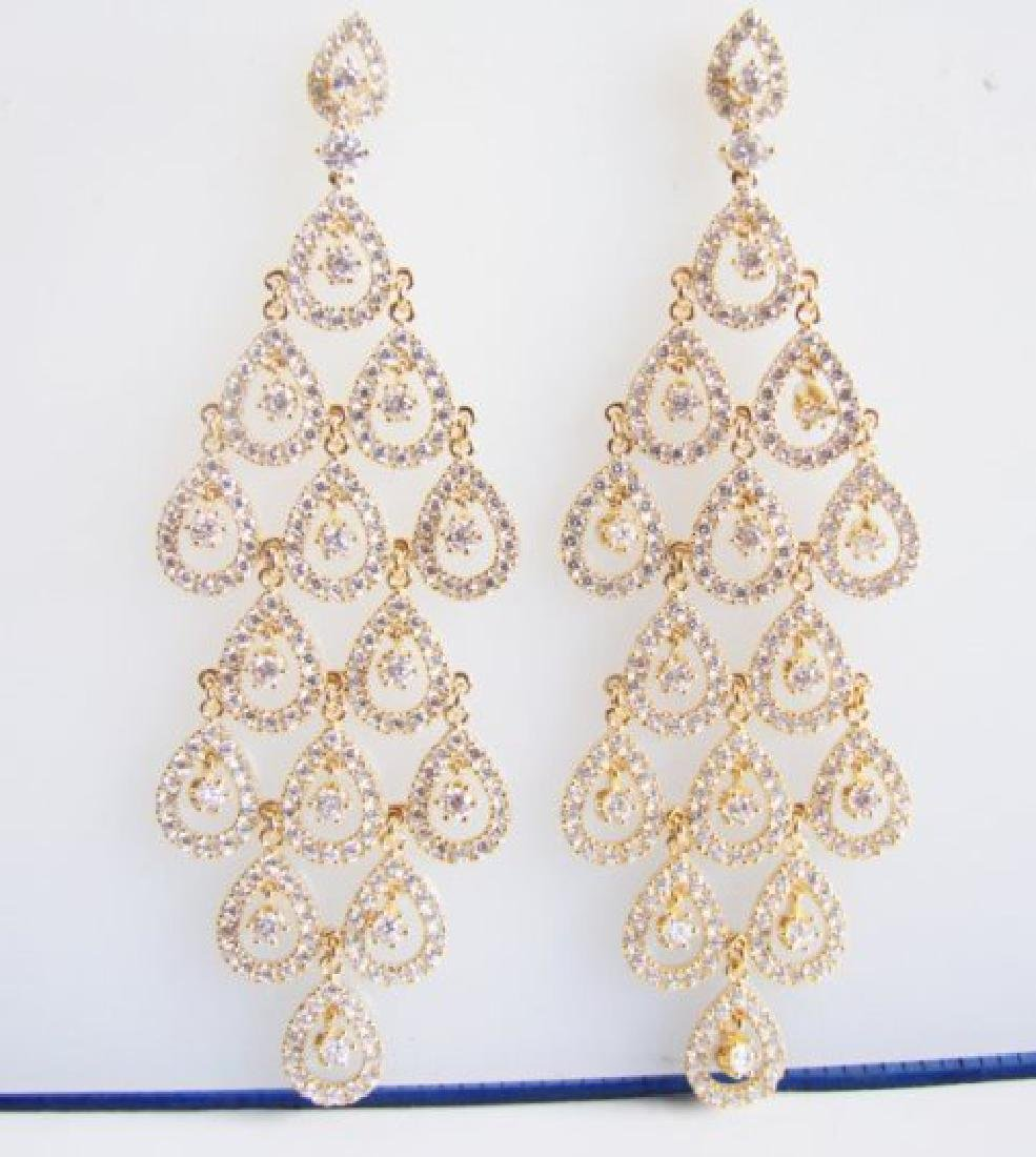 Creation Diamond  Earring 7.40Ct 18k Y/g Overlay