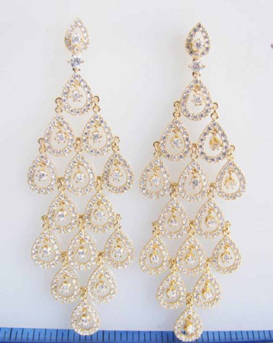 Creation Diamond  Earring 7.40Ct 18k Y/g Overlay - 2