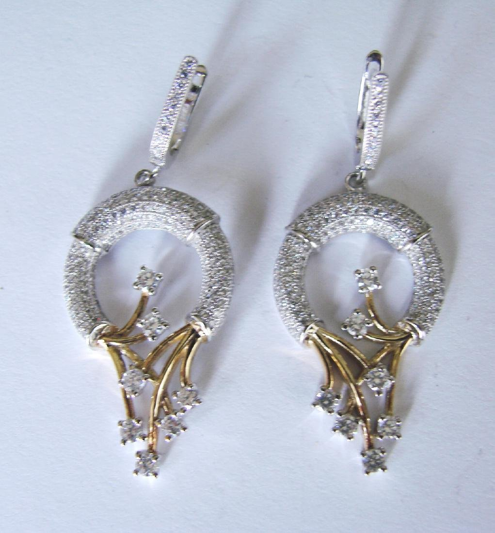 Creation Diamond Chandeliers Ear 2.36Ct 18k W-Y/g