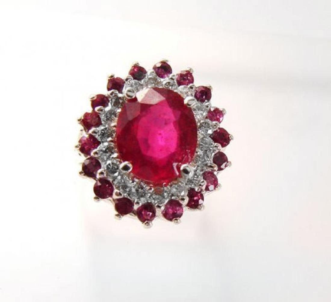 Ruby: 5.32 Diamond: .72CT Ring 14k White Gold