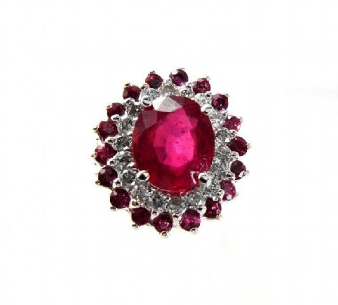 Ruby: 5.32 Diamond: .72CT Ring 14k White Gold - 2