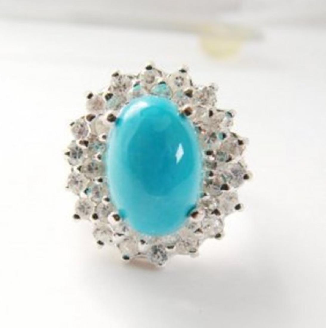 Natural Turquoise Diamond Ring 5.22Ct 14k W/g