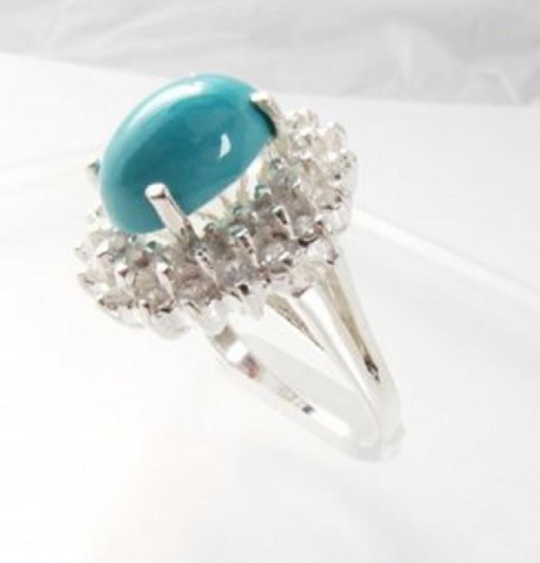 Natural Turquoise Diamond Ring 5.22Ct 14k W/g - 3