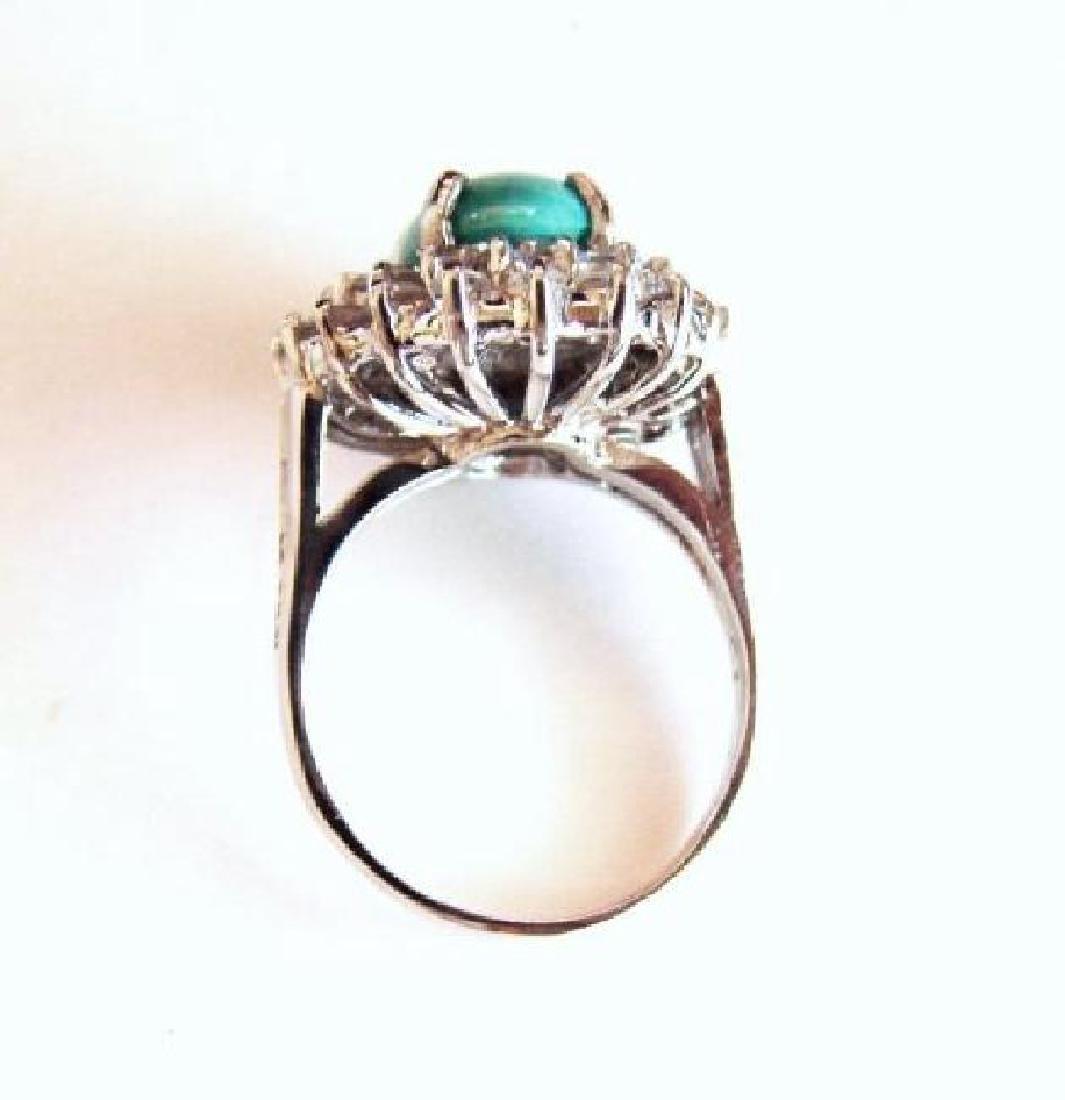 Natural Turquoise Diamond Ring 5.22Ct 14k W/g - 4