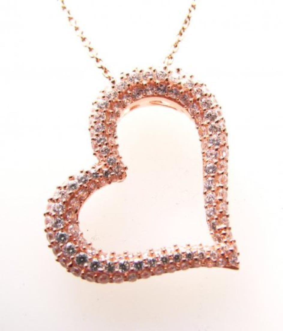 Creation Diamond Heart Pendant 1.20ct 18k R/g Over